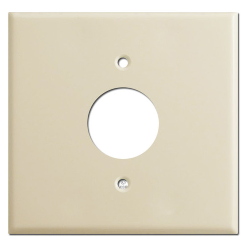 2 Gang 1 Center Single Plug Cover Plate - Ivory