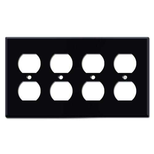 4 Duplex Outlet Covers - Black