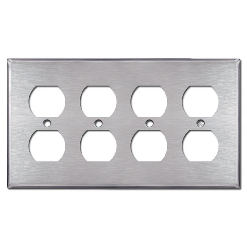 4 Gang Outlet Cover Plates - Satin Stainless Steel