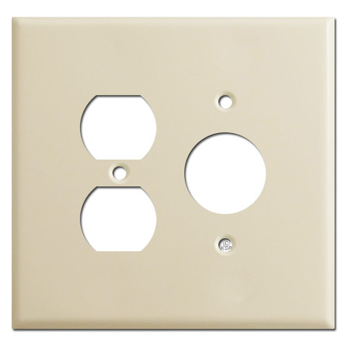 Oversized Duplex Outlet and Single Round Outlet Cover Plates - Ivory