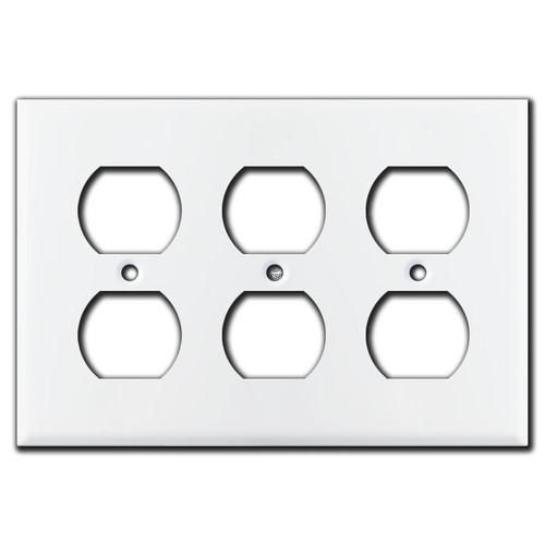 3 Duplex Outlet Wall Plate - White