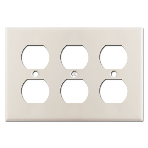 3 Duplex Outlet Plates - Light Almond