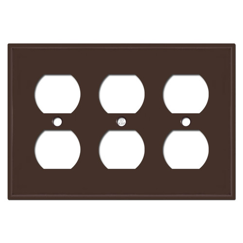 3 Duplex Electrical Outlet Covers - Brown