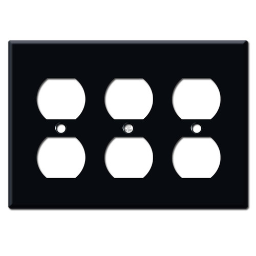 3 Outlet Switch Plates - Black