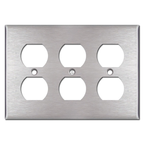 3 Gang Outlet Covers for 6 Plugs - Spec Grade Stainless Steel