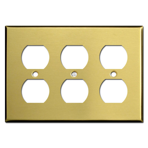 3 Gang Outlet Cover - Satin Brass