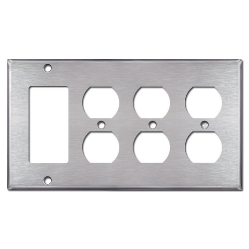3 Outlet 1 Rocker Wall Plates - Satin Stainless Steel
