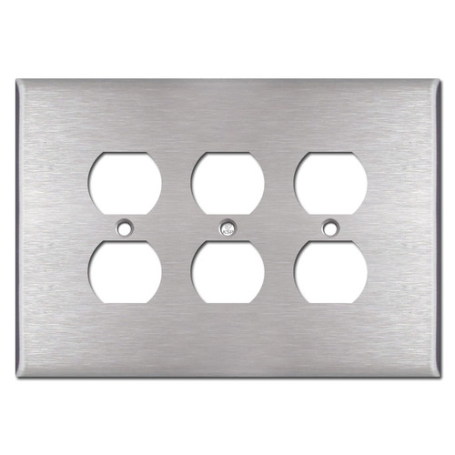 Jumbo Triple Outlet Wall Covers - Satin Stainless Steel