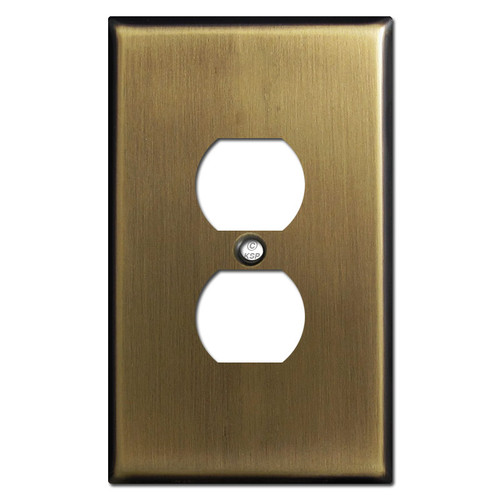 Oversized Duplex Outlet Cover - Antique Brass