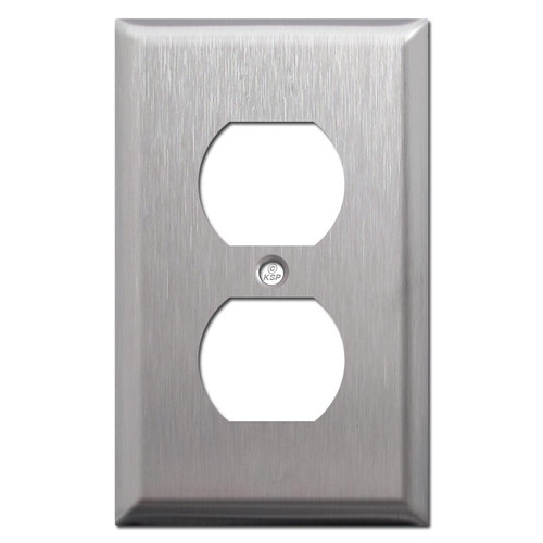 Lifted 1 Duplex Plate Cover - Satin Stainless Steel