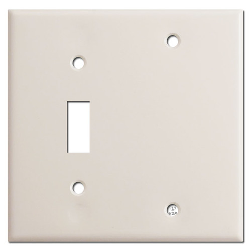 Single Toggle Single Blank Switch Plate - Light Almond
