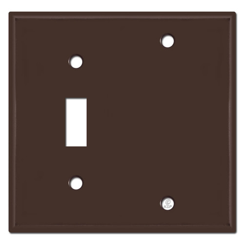 1 Toggle 1 Blank Wall Covers - Brown