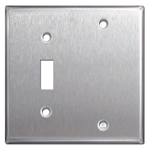 1 Toggle 1 Blank Wall Plate Covers - Satin Stainless Steel