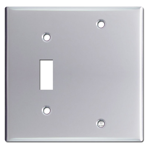 1 Toggle 1 Blank Switch Plate Covers - Polished Chrome