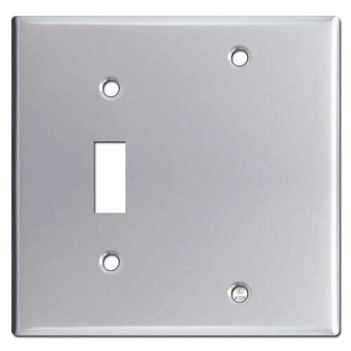1 Toggle 1 Blank Switch Plate Covers - Polished Chrome