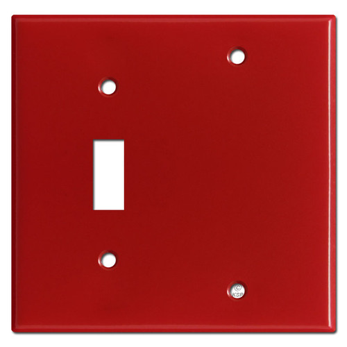 1 Toggle 1 Blank Switch Plate Covers - Red