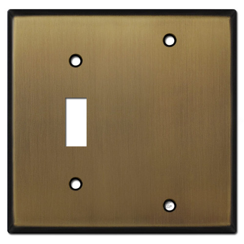 1 Toggle 1 Blank Faceplates - Antique Brass