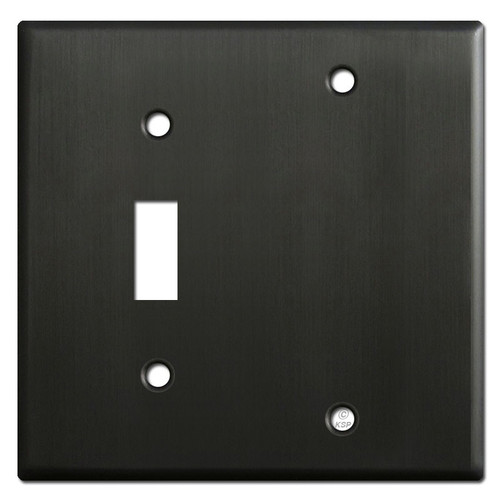 1 Toggle 1 Blank Wallplates - Dark Bronze