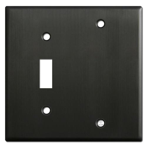1 Toggle 1 Blank Wallplates - Dark Bronze