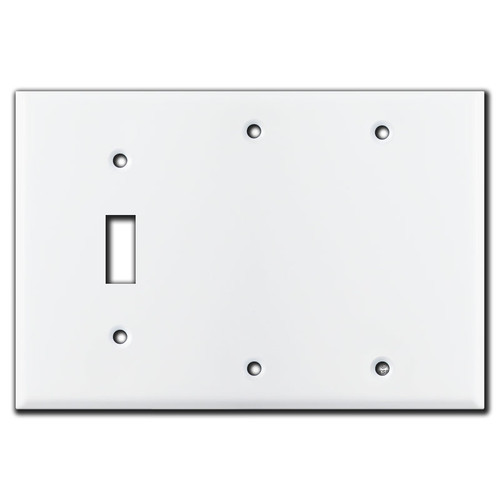 3 Gang 1 Toggle 2 Blank Switch Plate - White