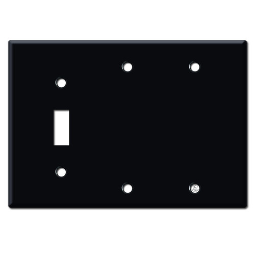 Single Toggle Double Blank Switch Plates - Black