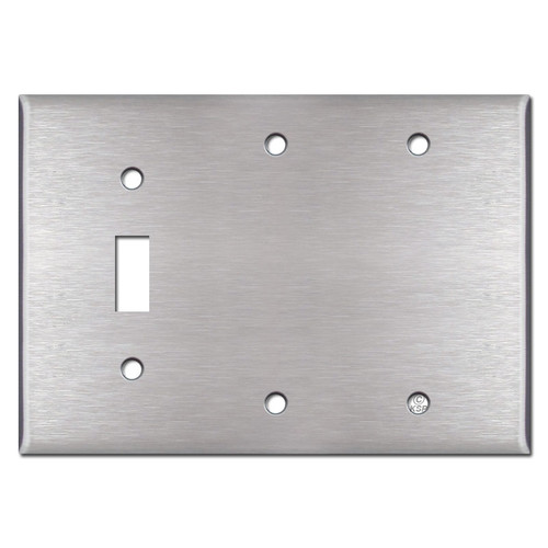 Single Toggle Double Blank Cover Plates - Satin Stainless Steel