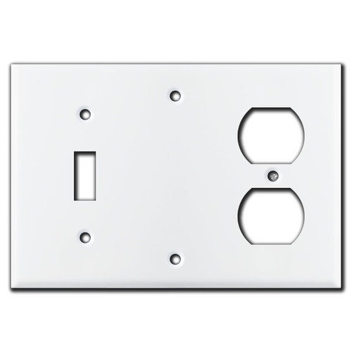 1 Toggle 1 Blank 1 Duplex Switch Plates - White