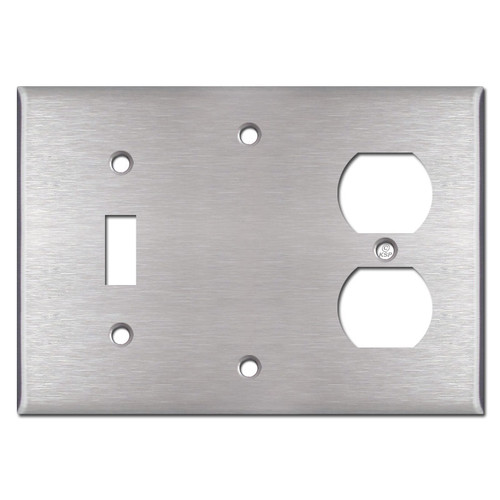 1-Toggle 1-Blank 1-Outlet Switch Plates - Satin Stainless Steel