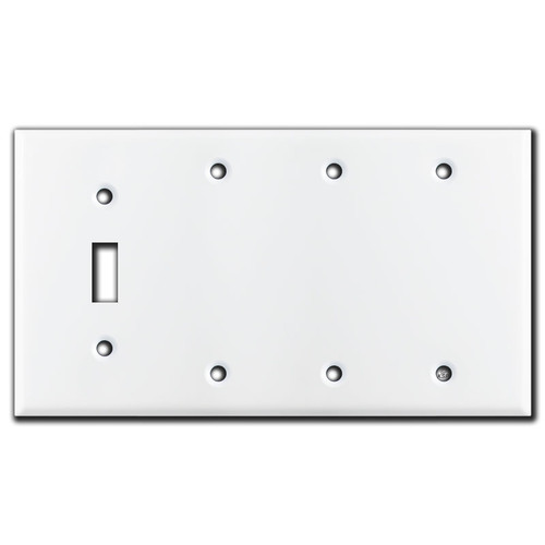 1 Toggle 3 Blank Switch Plates - White