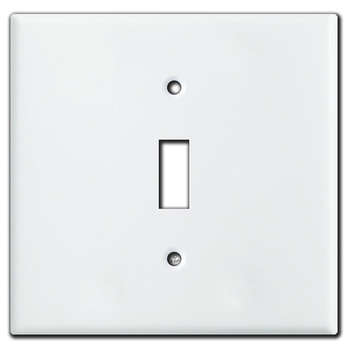 Double Gang Single Centered Toggle Switch Plates - White
