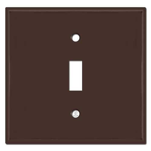 2 Gang 1 Centered Toggle Switch Plates - Brown