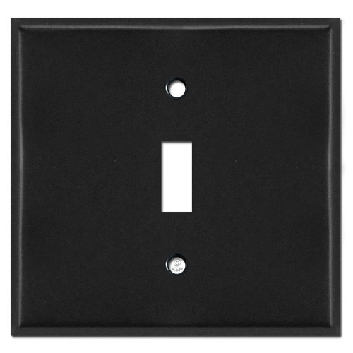 2 Gang 1 Centered Toggle Wall Cover Plates - Black