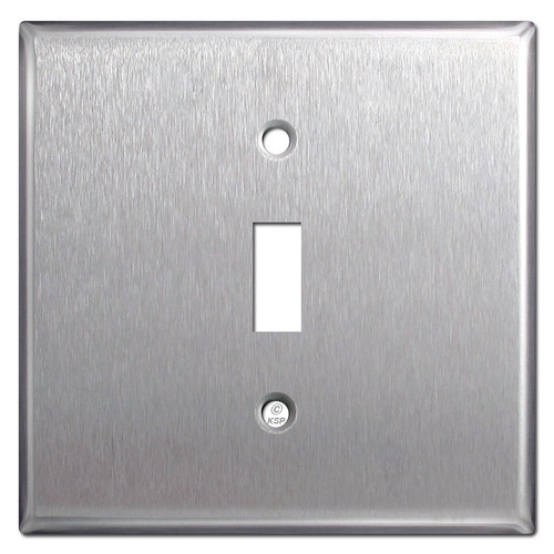 Stainless Steel Wide 2-Gang Centered Toggle Switch Plate