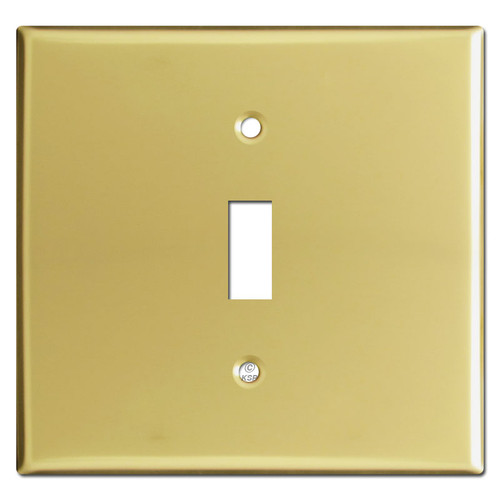 Wide 1 Toggle Switch Cover Plates - Polished Brass