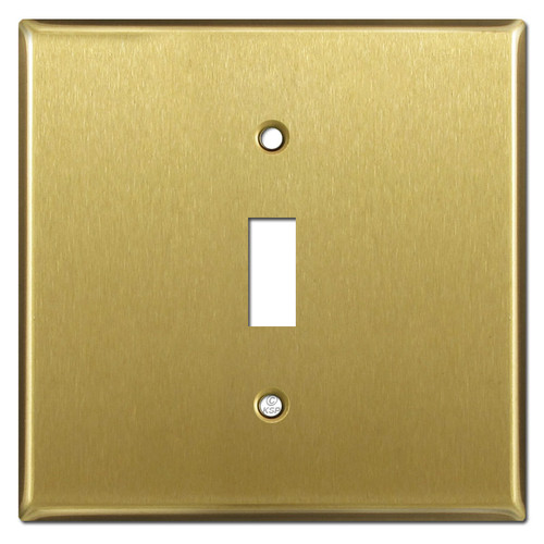 Wide Single Toggle Light Switch Plates - Satin Brass