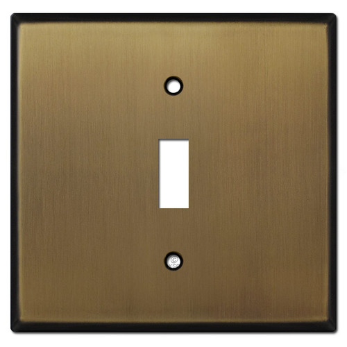 Two Gang One Centered Toggle Wall Cover Plates - Antique Brass