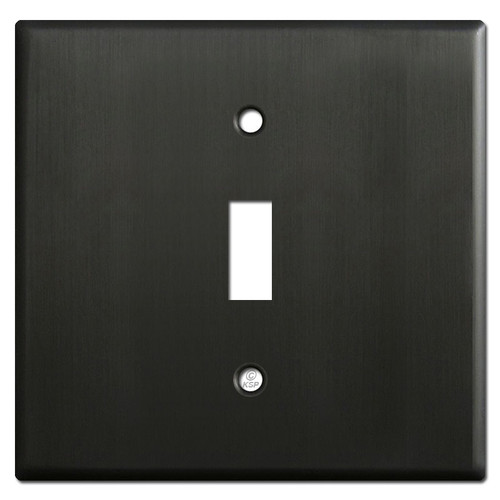 Two Gang Wide One Toggle Wall Plates - Dark Bronze