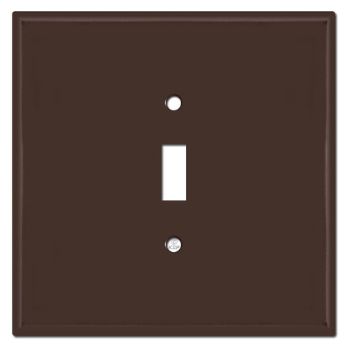 Oversized Double Gang Single Centered Toggle Switch Plates - Brown