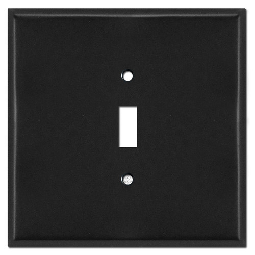 Jumbo Two Gang One Centered Toggle Cover Plates - Black