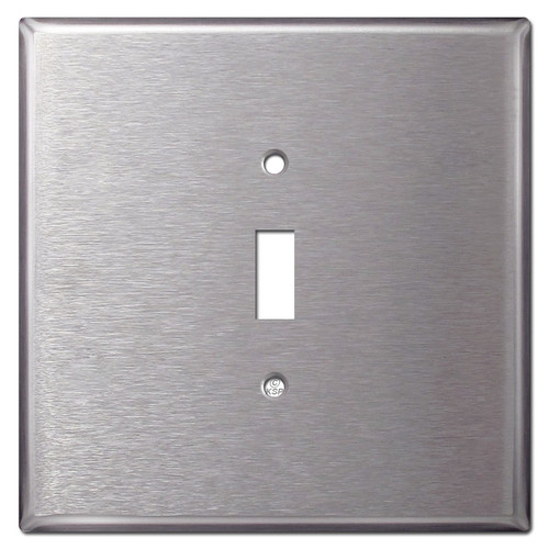 Oversized Two Gang One Toggle Plate Covers - Satin Stainless Steel
