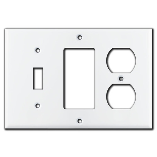 1 Toggle 1 Rocker 1 Duplex Wall Plate - White