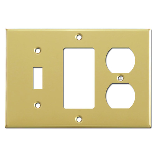 Single Toggle Single Rocker Single Outlet Wallplate - Polished Brass