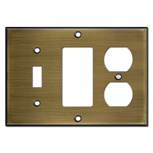 Toggle - GFCI - Duplex Outlet Wall Plates - Antique Brass
