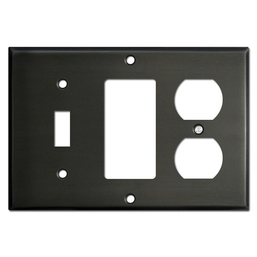 One Toggle One Decora One Outlet Plate Covers - Dark Bronze