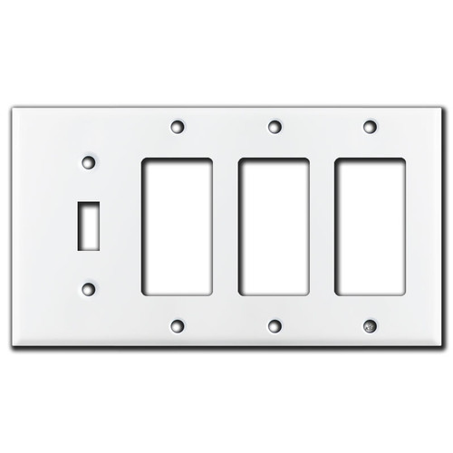 1 Toggle 3 Rocker Wall Plate - White