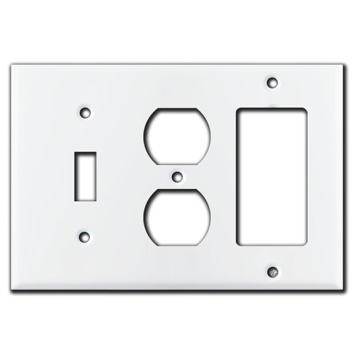 1 Toggle 1 Duplex 1 Rocker Switch Plate - White