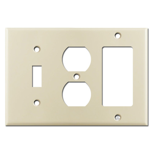 1 Toggle 1 Outlet 1 Decora Switch Wall Plates - Ivory