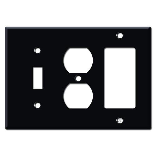 Single Toggle Single Outlet Single Rocker Switch Plates - Black