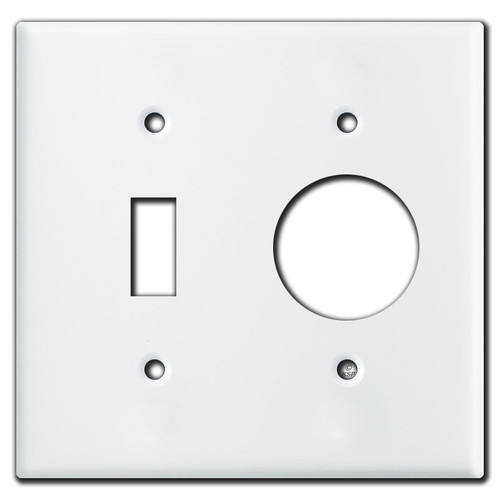 1 Toggle 1 Round Outlet Cover Plate - White