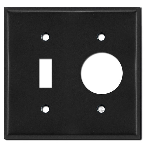 1 Toggle 1 Round Plug Plate Covers - Black